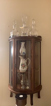 brown wooden framed glass display cabinet New Haven