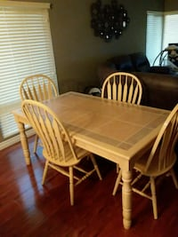 rectangular brown wooden table with six chairs dining set Stanton, 90680