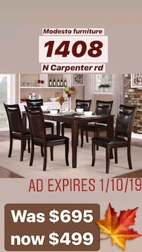 rectangular brown wooden table with six chairs dining set Modesto, 95350