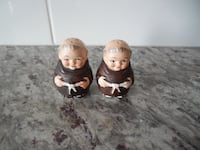 """*Vintage* """"JAPAN"""" Stamped Replica Friar Tuck Salt and Pepper Shakers. Some paint wear in spots. No chips/cracks. Still has stoppers. $10 PU Morinville Morinville"""