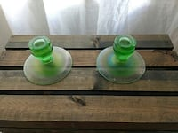 two green glass candlestick holders Vancouver, V6H 2P8