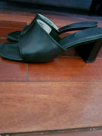 pair of black leather open-toe wedges Laval, H7W 5G7