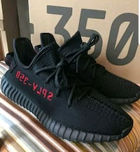 pair of black Adidas Yeezy Boost 350 V2 with box