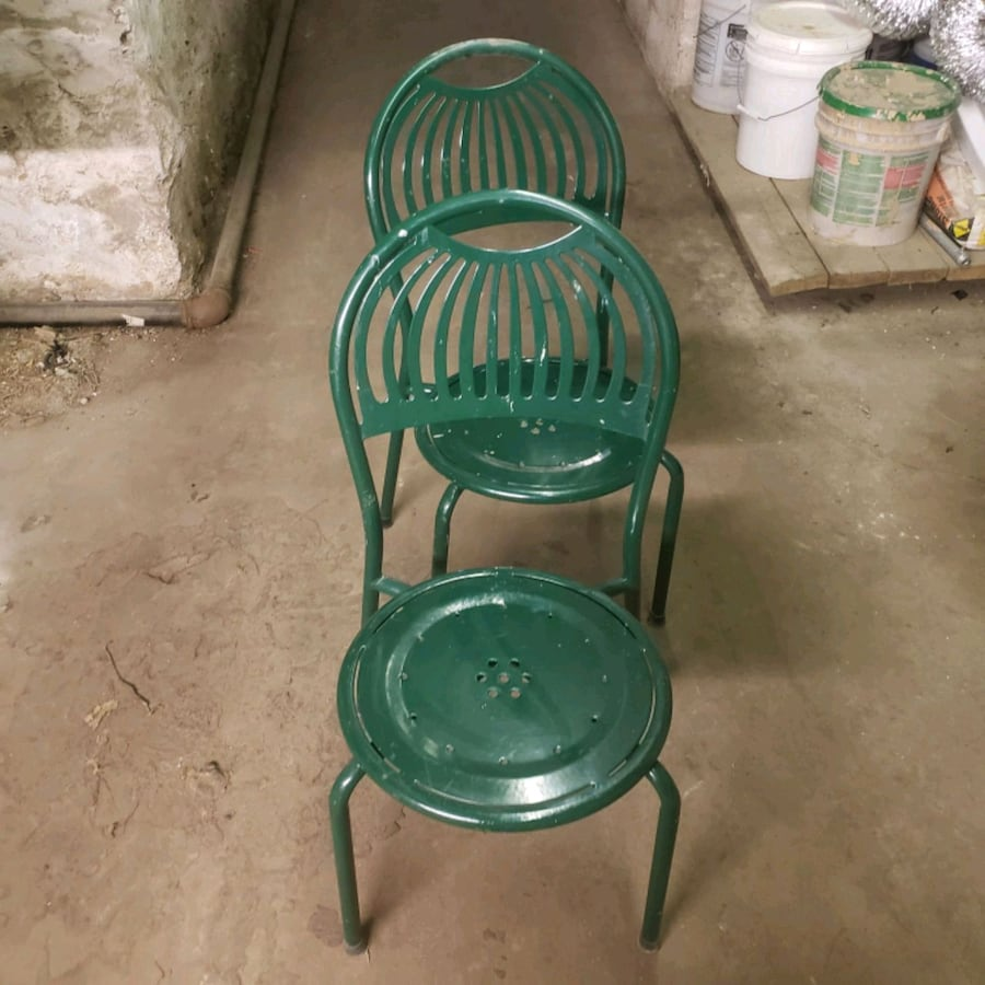 10 dark green outdoor chairs for sale