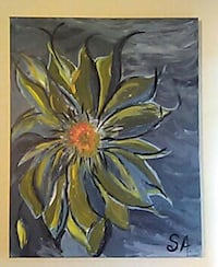 yellow, orange, and black flower painting