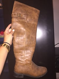 Brown leather knee high boot 7