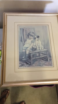 white wooden framed painting of woman Surrey, V4N 3H1