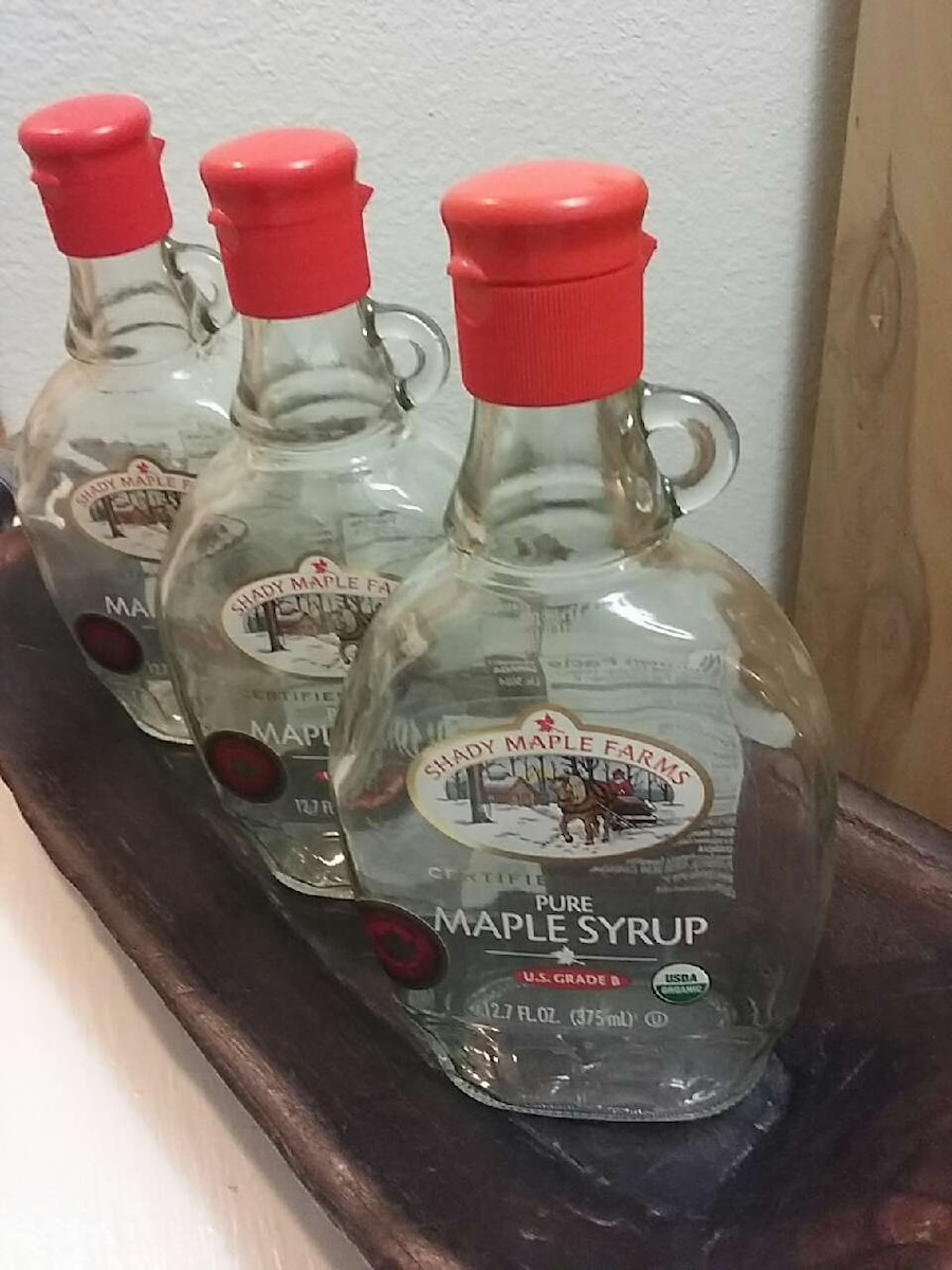 Photo 3 Empty Canadian Maple Syrup Glass Jugs