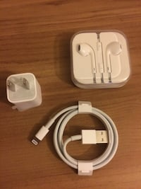 Original Apple EarPods Headphones, Usb Adapter And Power Cord Charger. Sold As A Lot Only $50 Firm Arlington, 22204