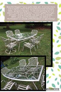 Beautiful Elegant 7 piece patio table set... 4 normal chairs and 2 captain chairs that swivel/bounce and rectangle table... gorgeous designs... it will need painting but in a black it would look Gorgeous... I haven't gotten to it yet... all metal... stron Murfreesboro, 37130