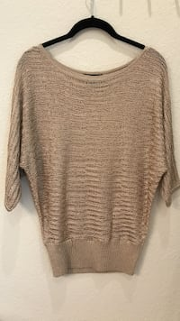 Women's Bebe knitted gold blouse Small to Medium Napa, 94558