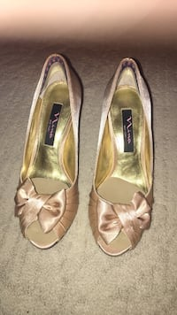 Fancy Gold Royal Satin Shoes( has shoes cushions and heel pads)