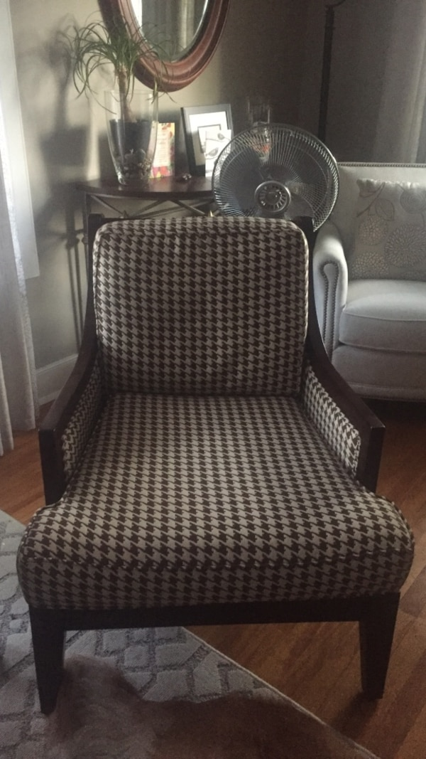 Brown and cream fabric chair