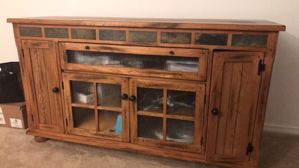 Brown wooden framed glass display cabinet 9fa20e59-2d77-4c35-a639-9f27d77b42af