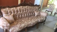 brown and white floral fabric 3-seat sofa Calistoga, 94515