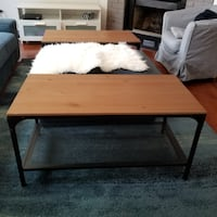 rectangular brown wooden coffee table null