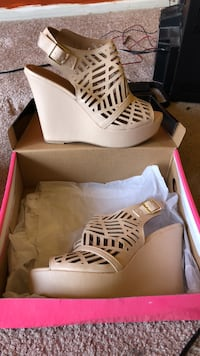 pair of laser-cut beige leather peep toe wedges with box Oxon Hill, 20745