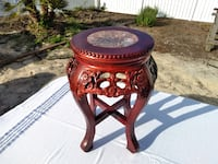 Stunning Ornate Crafted Round End Table with Marbl Myrtle Beach