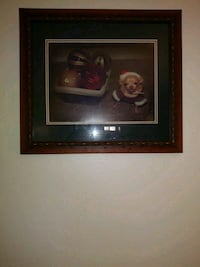 black framed painting of Christmas with chte dog Tulsa, 74116