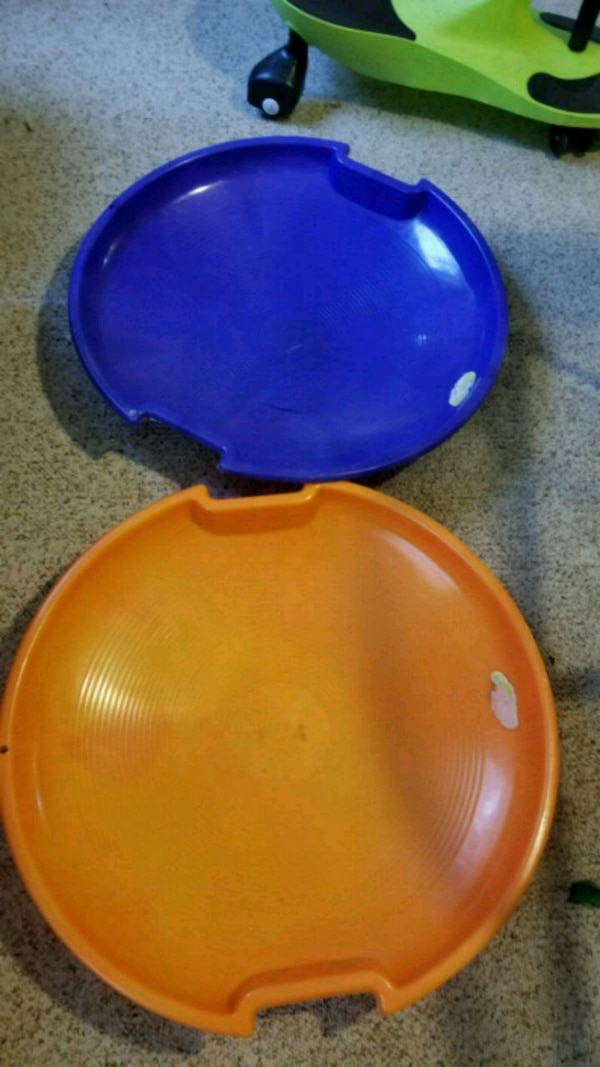 two blue and red plastic containers