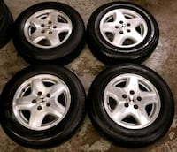 four chrome 5-spoke auto wheels with tires Toronto, M6L 1A4