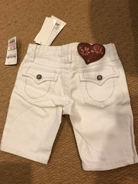 Girls brand new white denim stretch shorts adjustable waistband 30 km