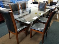 Brand new espresso color glass top dining table with 6 chairs College Park