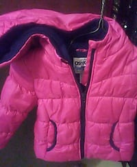 pink and black puffer jacket