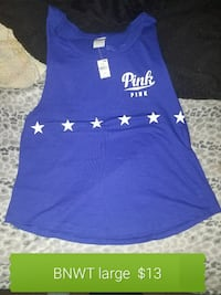 blue and white PINK by Victoria's secrete tank top