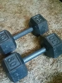 two black fixed weight dumbbells Penryn, 17564