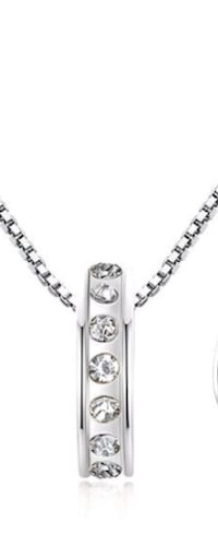 18 kt white gold filled diamond ring necklace and