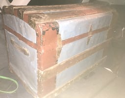 Vintage steamer trunk. Wood with tin covering