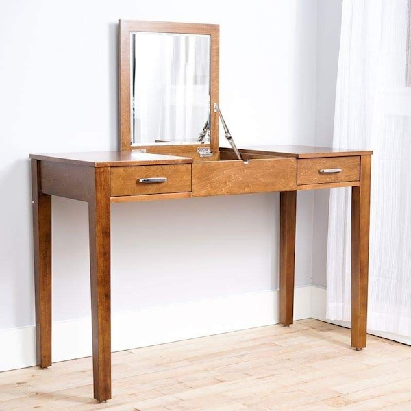 Vanity Desk with Mirror and Outlet- New, In Box
