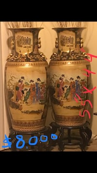 "Brand new a pair of large vases 55"" tall x 44"" widths impressive antique collectible Japanese satsuma vases masterpiece hand painted with gold and enamel glaze figures check out my other listings on this page message page message me if you interested Gaithersburg, 20877"