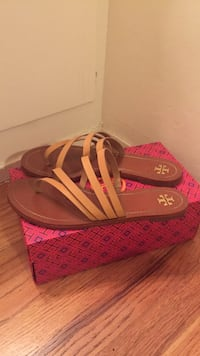 Brown Tory Burch leather flats with box