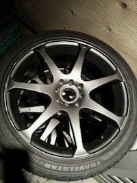 Dark Silver 7's- spoke 4x100 4x114 RIMS with tires Burlington