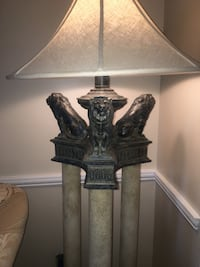 two black wooden base table lamps with white lampshades 34 mi