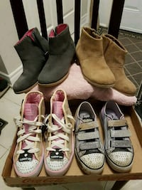 Girls Size 2 Skechers and Toms shoes 535 km