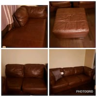 brown leather 3-seat sofa District Heights, 20747