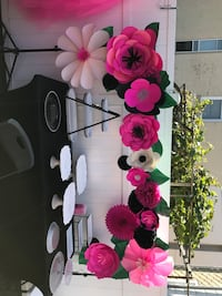 Used Paper Flowers With Leaves Backdrop For Any Event For Sale In