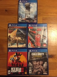 PS4 RedDeadRedemption2 AssasinsCreed Battlefront NBA2k18 CallofDutyWW2 Toronto, M2R 2S6