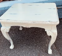 Antique white solid wood clawfoot table Kensington