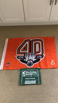 Collector edition oilers flag + collector edition SK roughriders towel from their stadium opening. Both items extremely rare. $40 each of both for $70