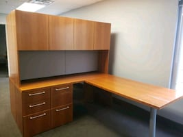 Contemporary and durable workstation with L u-shape desk and hutch!