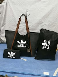 Tote bag in pelle Adidas nera e marrone