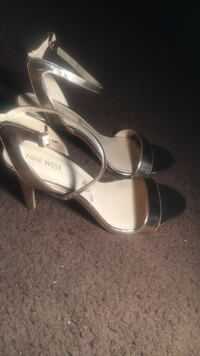 pair of black-and-white leather heels Columbus, 43229