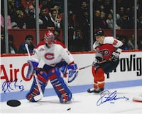 Patrick Roy & Eric Lindros Dual Signed 8x10 Photo COA Vaughan