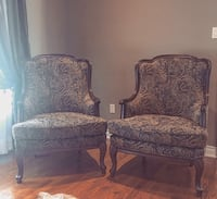 two blue and white floral padded armchairs Richmond Hill, L3T 1B3