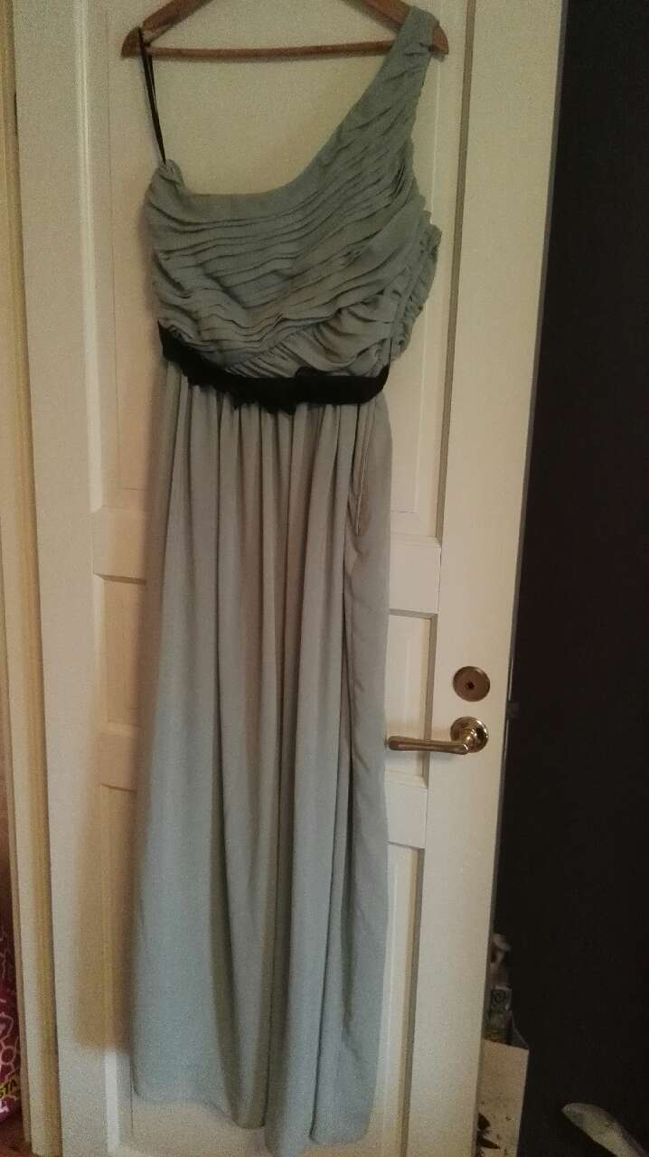 women's grey one shoulder formal dress
