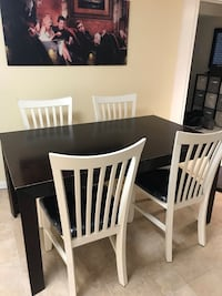 Brown Table with 4 White Chalked Painted Chairs
